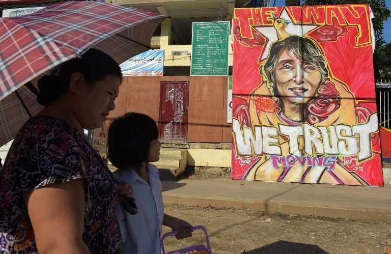 Graffiti depicts Suu Kyi outside the headquarters of her party in Yangon.