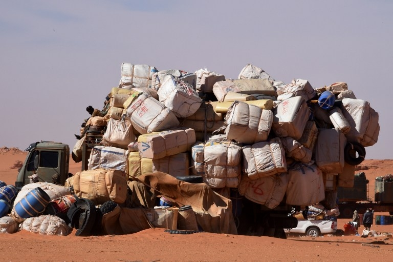 A fully loaded truck at Madama, Niger on January 1, 2015