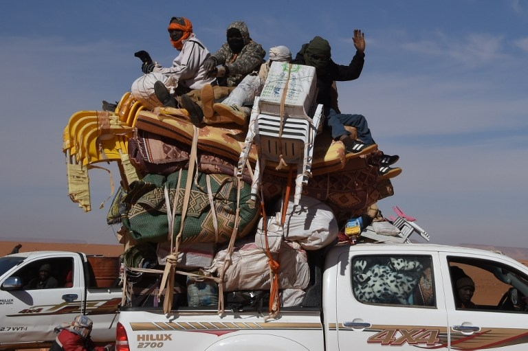 A pick-up truck laden with goods in Madama, Niger, on January 1, 2015