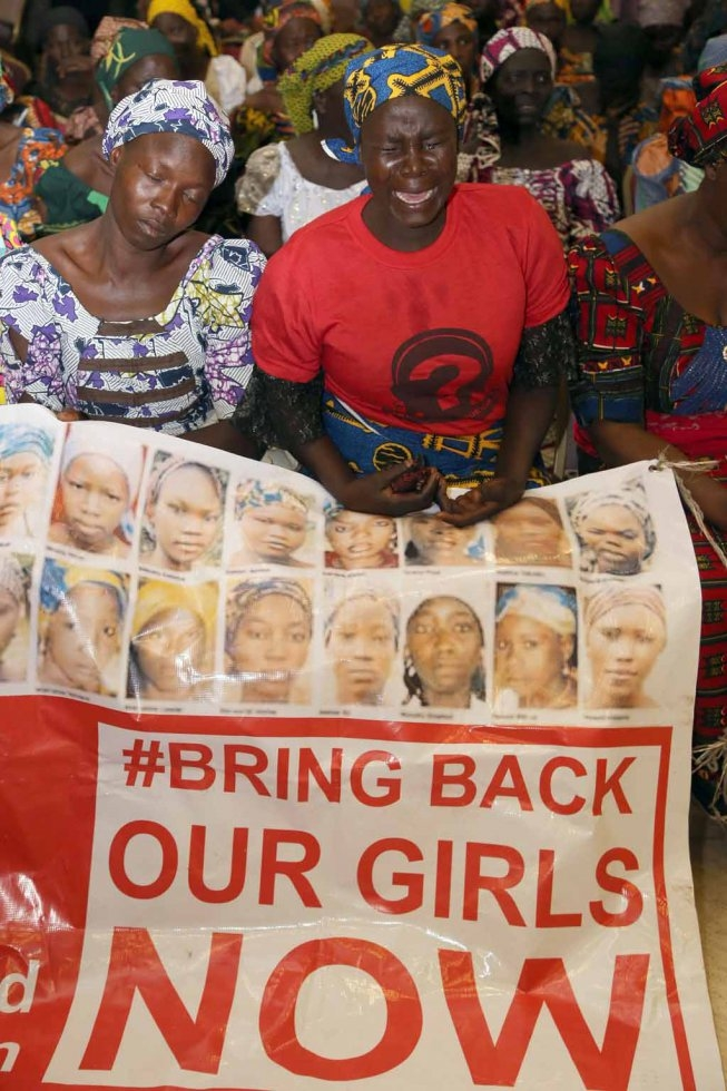 Mothers of the kidnapped Chibok girls at a rally in Abuja in January, 2016.