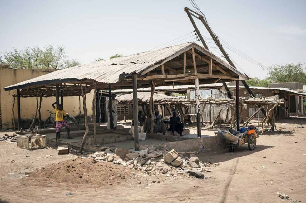The bombed-out market in Chibok, March, 2016.