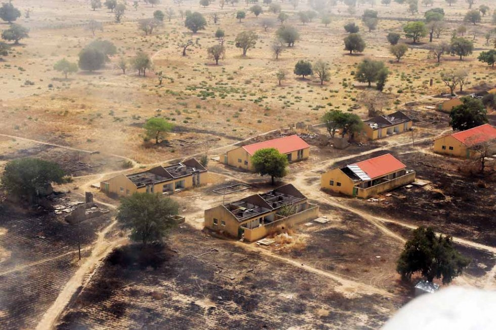 The burnt-out school from above, March, 2015.