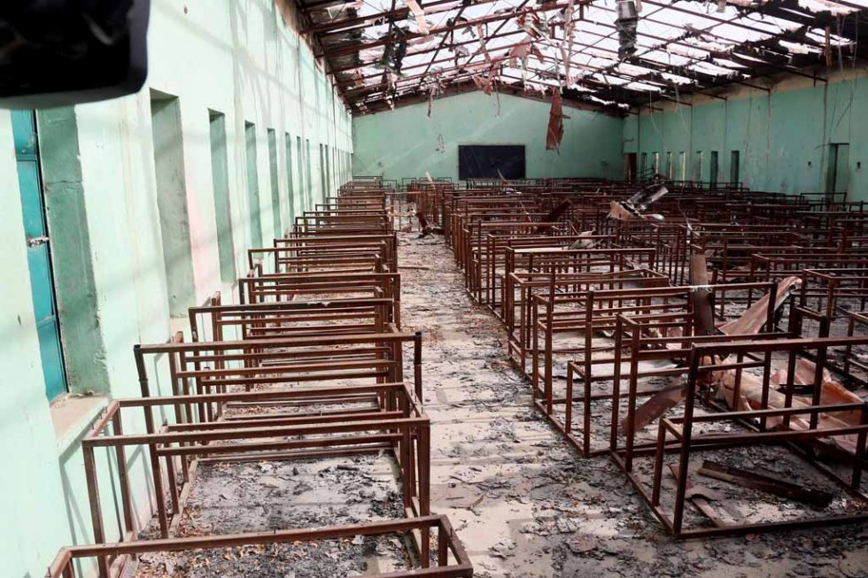 Burnt-out classrooms at the school, March, 2015.