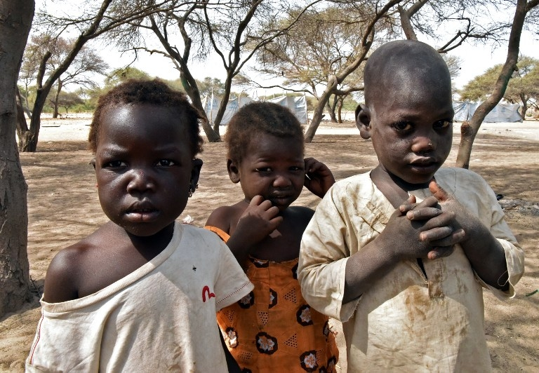 Children from Baga, Nigeria in a UNHCR camp in N'Gouboua, Chad on January 27, 2015