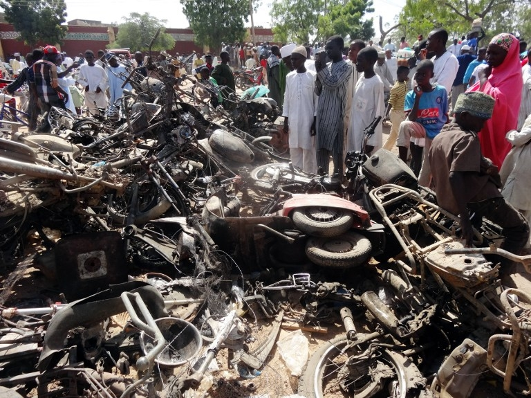 The day after twin suicide blasts hit the central mosque in Kano in November 2014