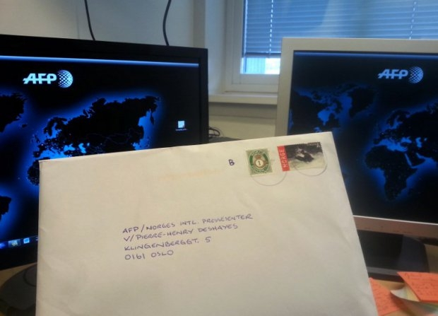 This picture taken on September 5, 2014 shows a letter by Norwegian right-wing extremist Anders Behring Breivik addressed to AFP journalist Pierre-Henry Deshayes at the AFP office in Oslo (AFP Photo / Pierre-Henry Deshayes)