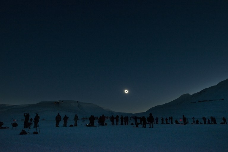 Watching the total solar eclipse in Longyearbyen, Svalbard, on March 20, 2015