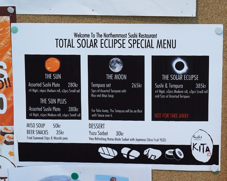An eclipse-themed restaurant menu in Longyearbyen, Svalbard, on March 19, 2015