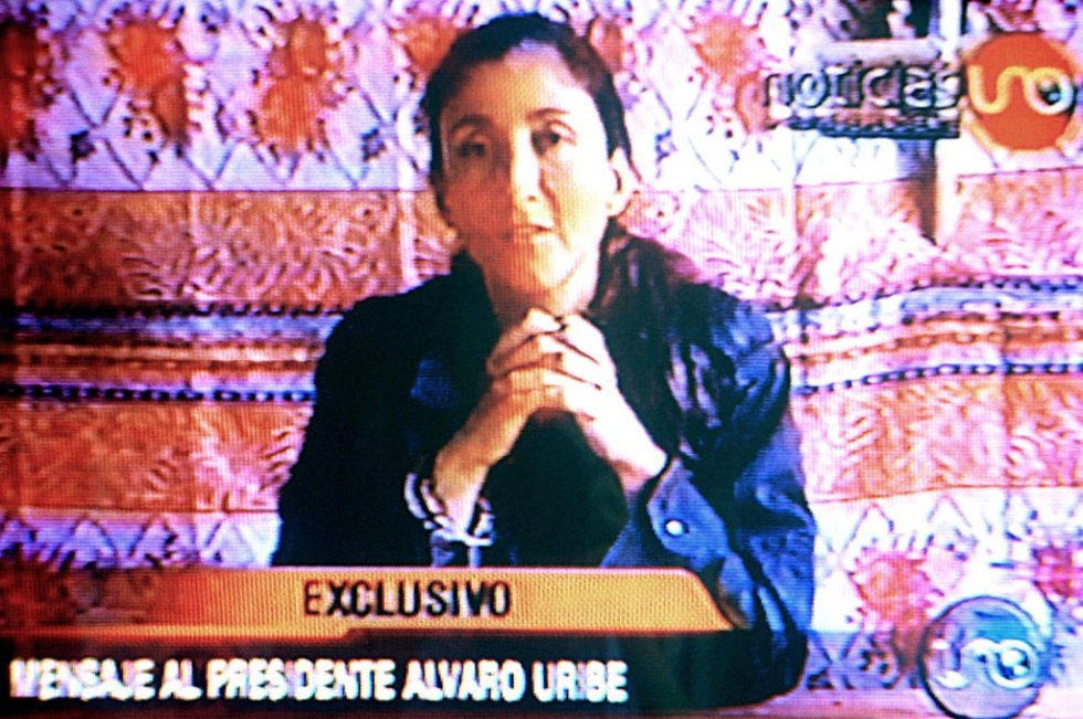 TV grab of the Colombian former presidential candidate Ingrid Betancourt, aired on August 30, 2003 in Bogota. Betancourt was kidnapped by Colombia's FARC rebels in February 23, 2002