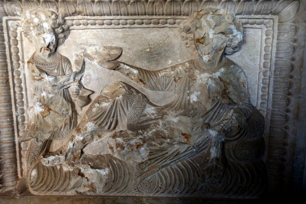Destruction in Palmyra's museum on March 31, 2016