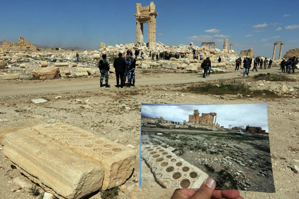 The Temple of Bel as it was on March 14, 2014, and the remains of the monument destroyed by the Islamic State group