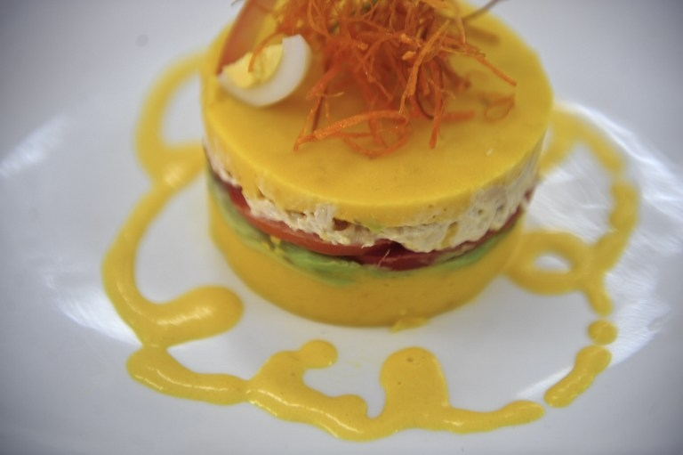'Causa', the Peruvian traditional dish made with layers of spiced potato