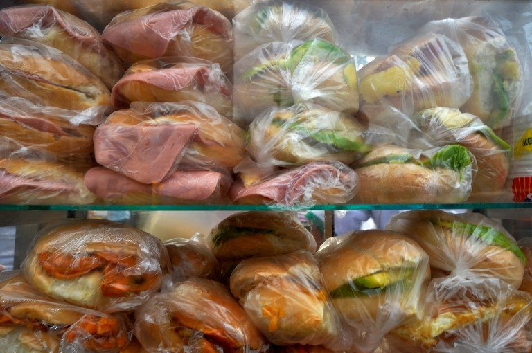 Sandwiches in a typical food stall in downtown Lima on March 18, 2014