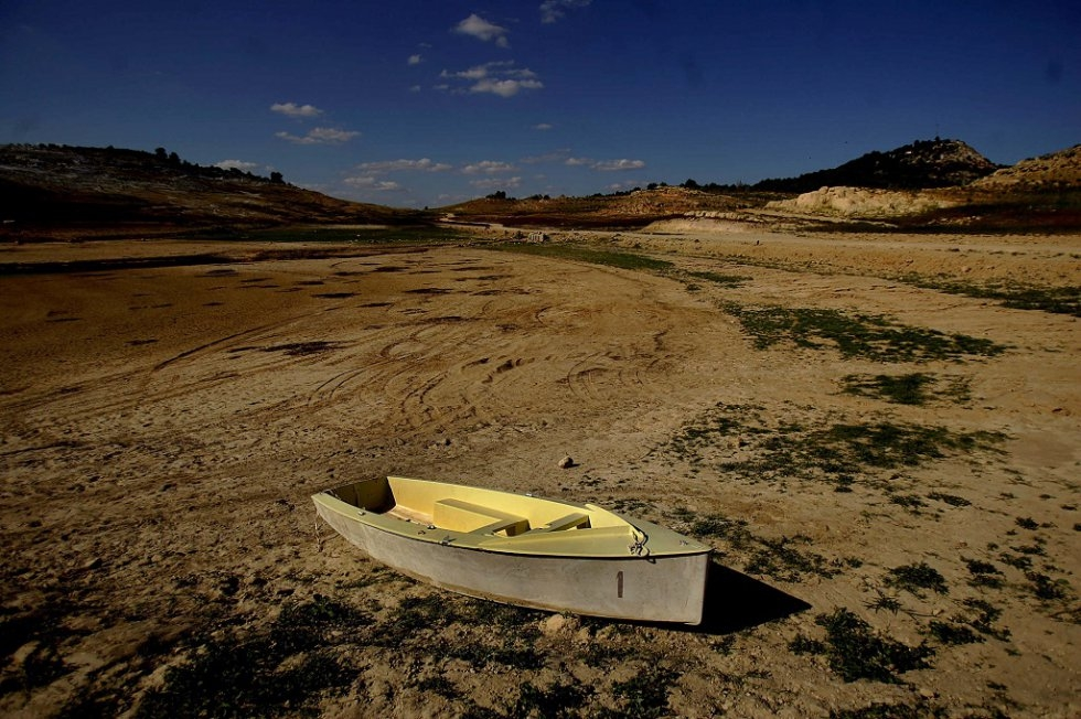 A boat in a dried-up reservoir in Spain. August, 2006.