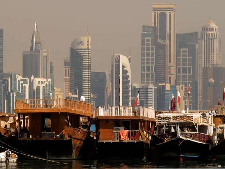 Boat moored with the Doha skyline in the background in October 2012