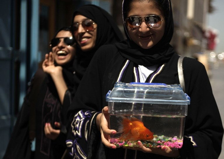 Qatari women at the pet market in Souq Waqif in Doha in March 2010
