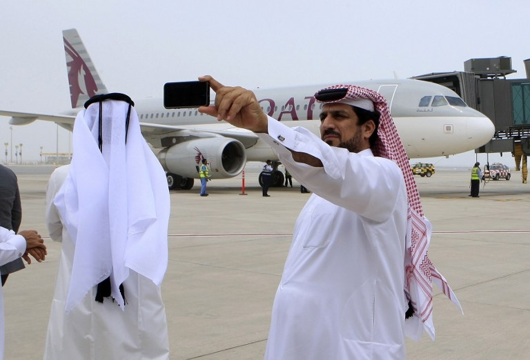 Qataris take pictures at Doha's new Hamad International Airport