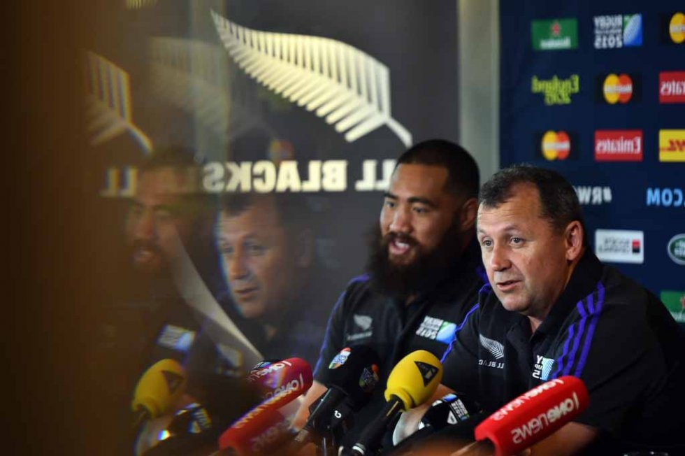 All Blacks assistant coach Ian Foster and prop Charlie Faumuina at a press conference.