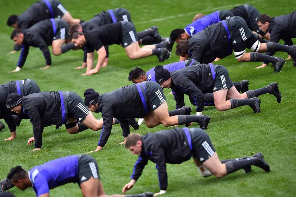 All Blacks at a training session.