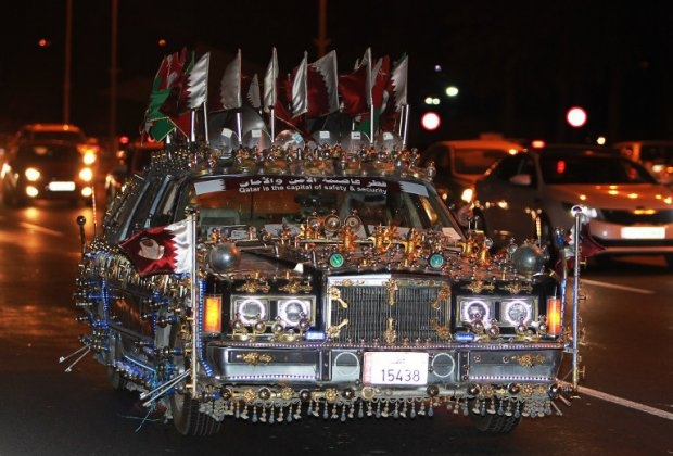 A decorated car during celebrations in Doha after Qatar's Gulf Cup triumph