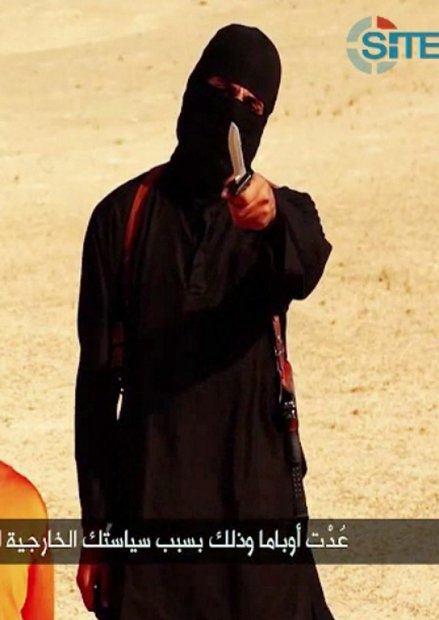 An image grab taken from a video released by IS jihadists on September 2, 2014 shows a masked militant speaking to the camera before beheading US reporter Steven Sotloff