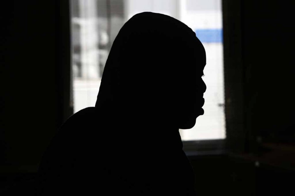 A victim of sexual abuse tells her story in the Sudanese capital in March.