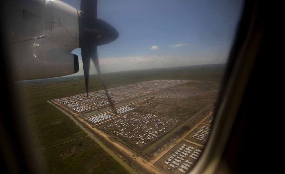 A UN base outside Bentiu from the air.