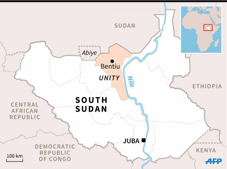 The location of Unity State inside South Sudan.