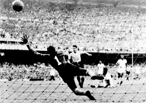 "The ""Maracanazo"": Uruguayan forward Juan Alberto Schiaffino scores the equaliser against Bazil during the 1950 World Cup final in the stadium at Maracana de Rio. Against all predictions, Uruguay won 2-1, becoming champions for the second time."