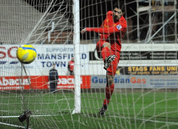 Suarez scores for Liverpool in Mansfield Town, January 2013.