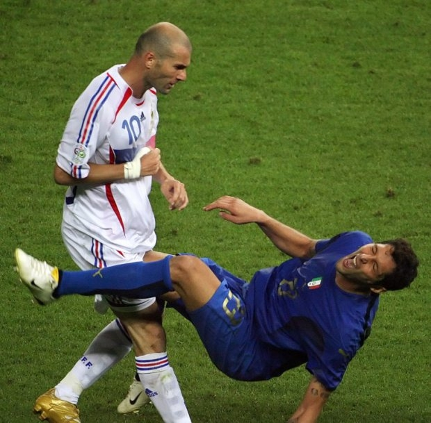Zinedine Zidane's infamous headbutt on Marco Materazzi during the 2008 World Cup final.
