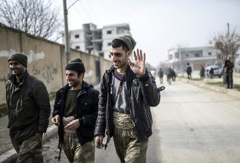 Kurdish fighters in the centre of Kobane, Syria on January 28, 2015