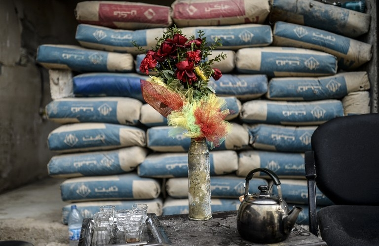 A shell used as a vase in Kobane, Syria, on January 28, 2015