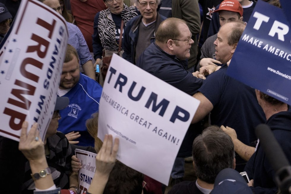 A clash at a Trump rally in Ohio.