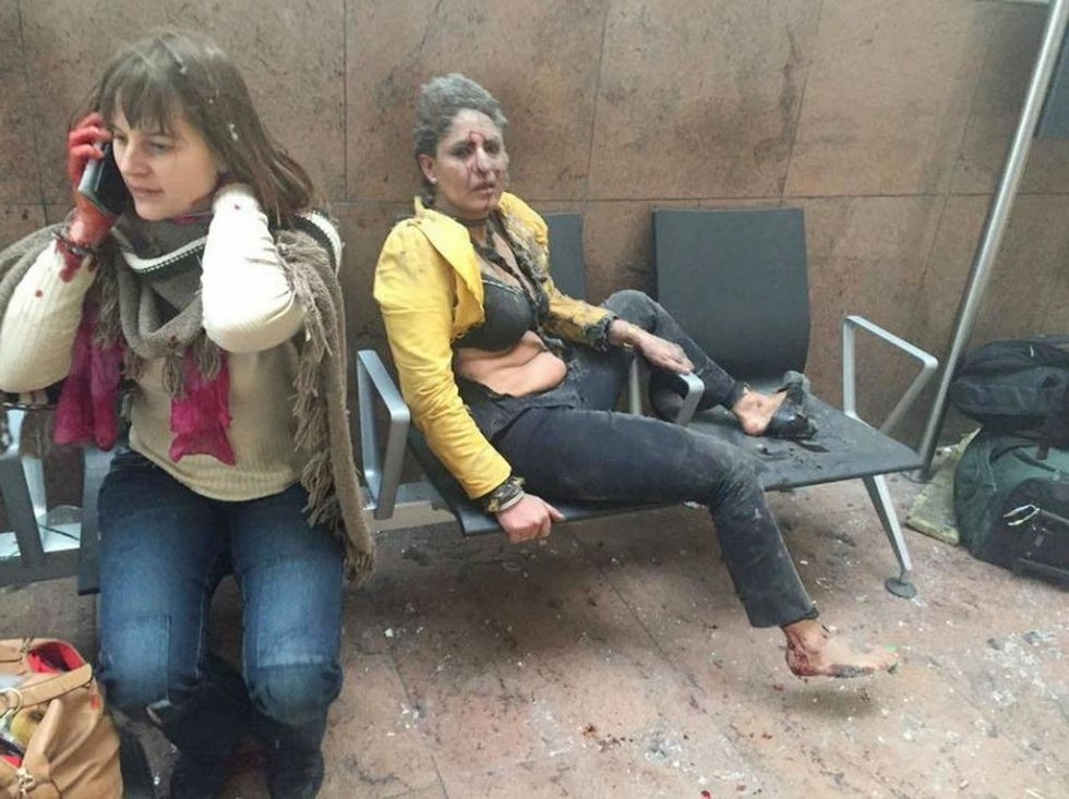 Two women wounded in the twin blasts at Brussels airport in Zaventem
