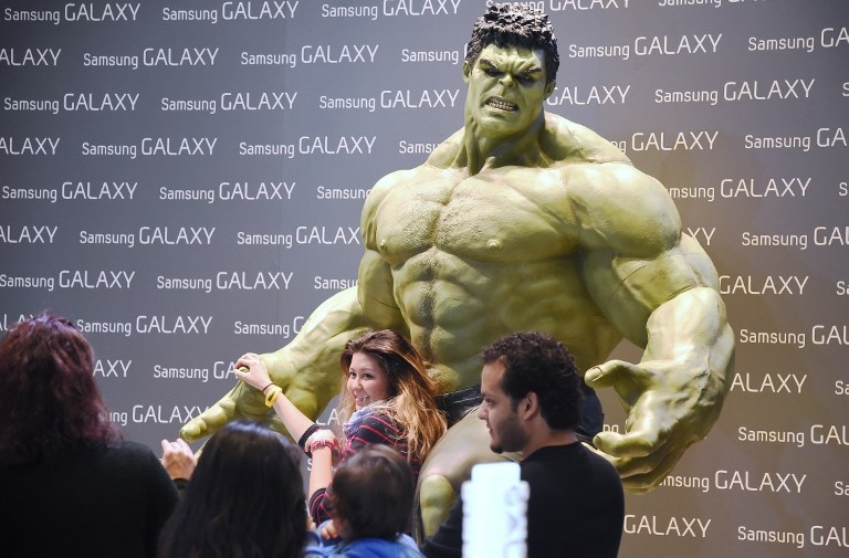 'The Hulk' at the Samsung booth at CES, on January 8, 2015