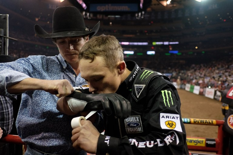 Gage Gay gets ready to take on 'The Parrot' at the PBR Monster Energy Buck-Off on January 16, 2015