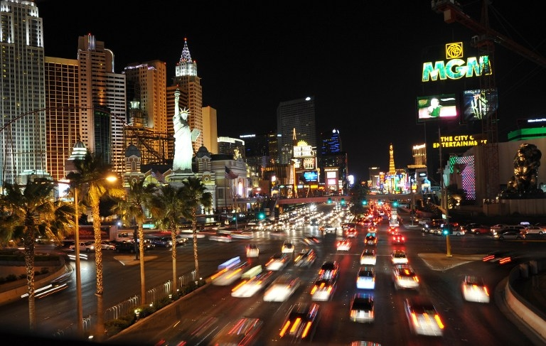 Rush hour traffic on the Strip in Las Vegas. Picture taken on June 9, 2012