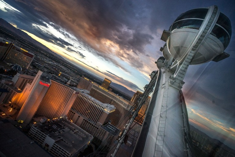 View from the Las Vegas High Roller observation wheel, above the Strip on April 11, 2014