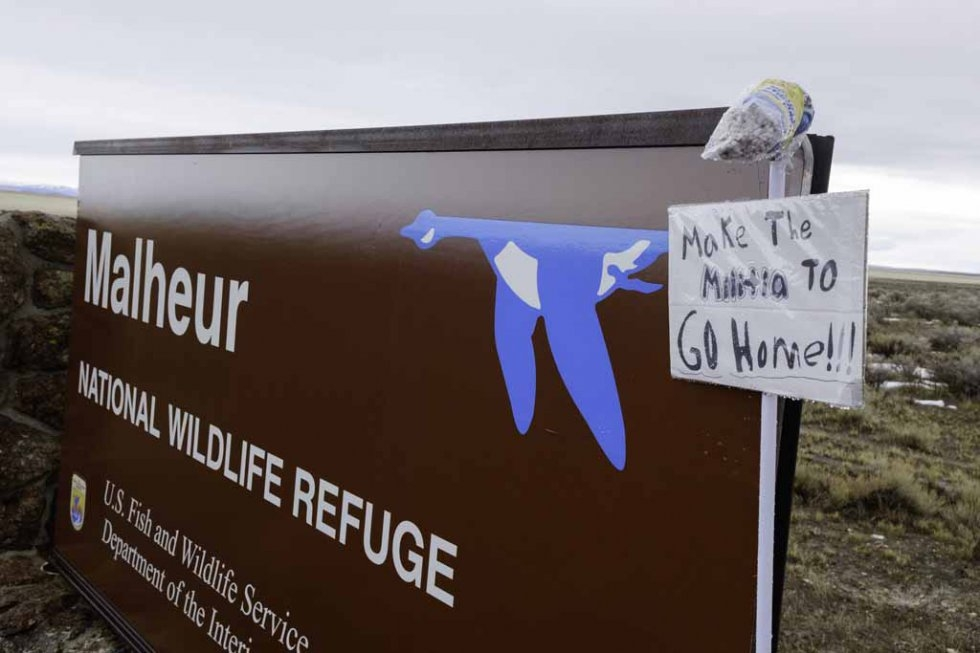 A refuge sign on January 29, 2016.