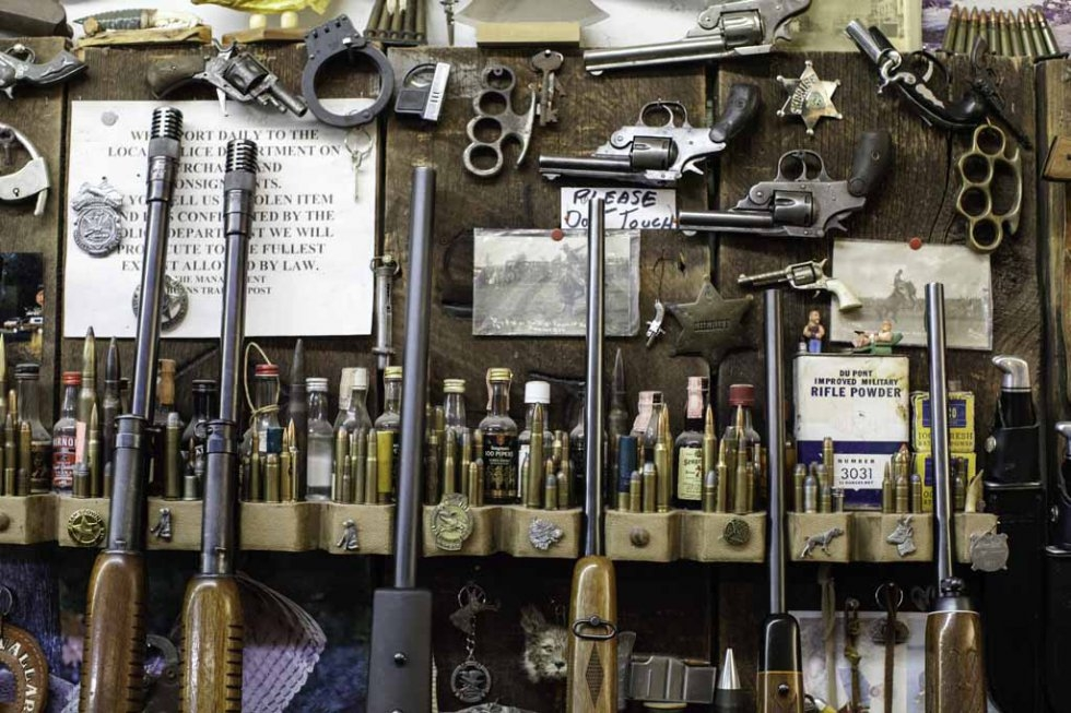 Guns and ammunition for sale in Burns, Oregon. January 5, 2016.