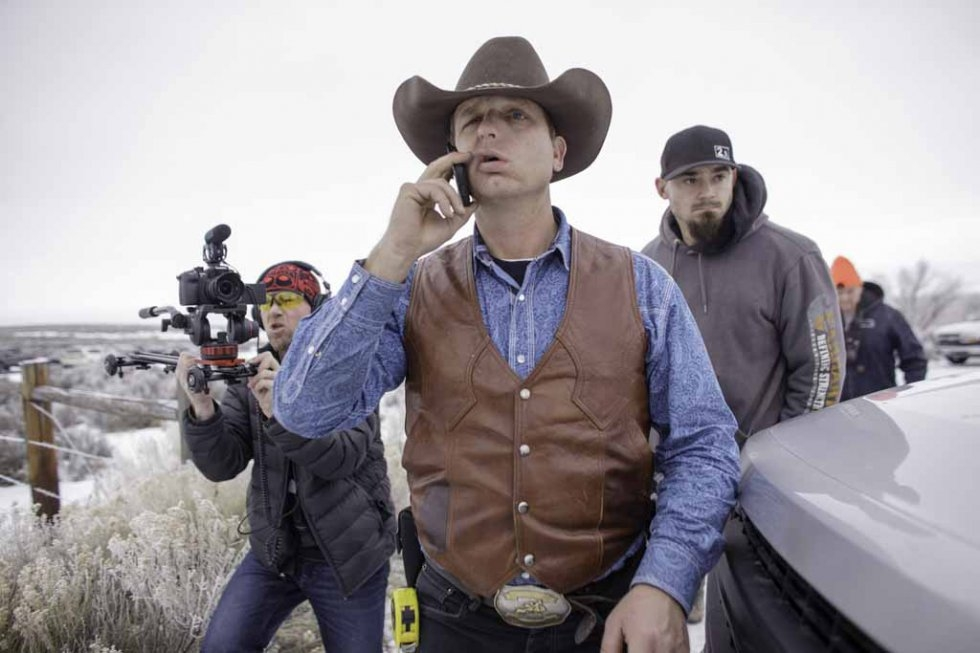 Occupier Ryan Bundy speaks on his cell phone. January 7, 2016.