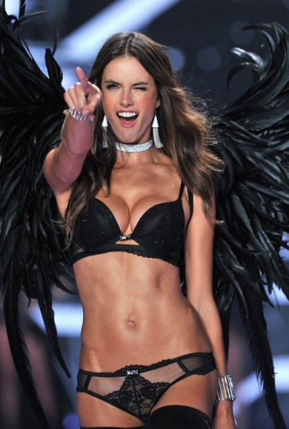 Brazilian model Alessandra Ambrosio at the Victoria's Secret Fashion Show in London