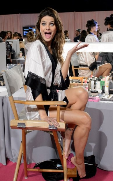 Brazilian model Isabeli Fontana backstage at the 2014 Victoria's Secret Fashion Show