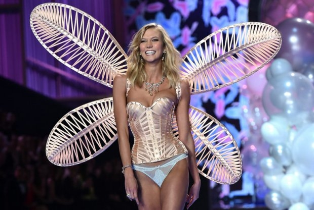 US model Karlie Kloss at the 2014 Victoria's Secret Fashion Show in London