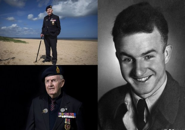 Canadian Bud Hannam, in June 2014 in Courseulles-sur-Mer, and in 1944 in the UK.