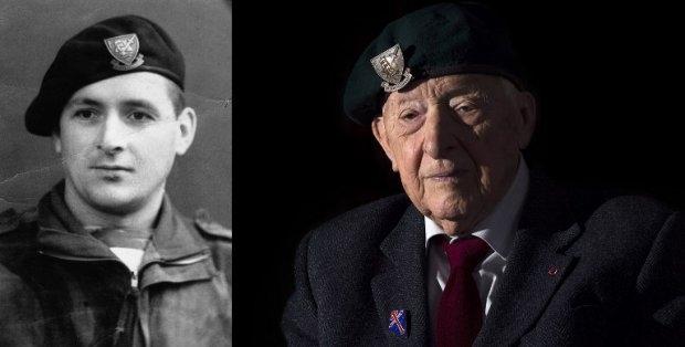 Hubert Faure, former French commando, during WWII and in April 2014 in Paris.