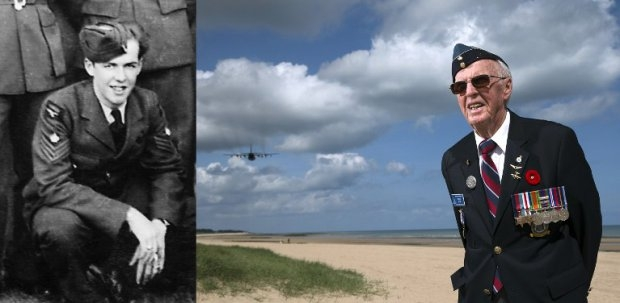 Canadian veteran Muir Frazer, in 1944 and in June 2014 on the beach at Courseulles-sur-Mer, in Normandy