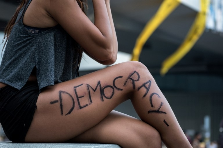 A woman at a pro-democracy rally in Hong Kong on October 5, 2014