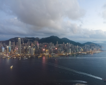 A general view shows the skyline and Hong Kong's Victoria harbour, as seen from the International Commerce Centre (ICC) on May 25, 2018. (P